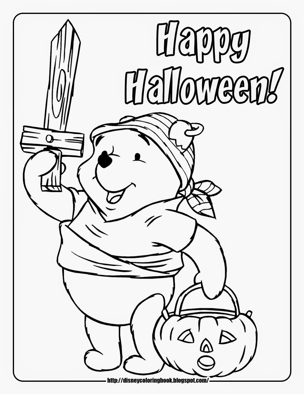 7 Disney Halloween Coloring Pages About Winne The Pooh