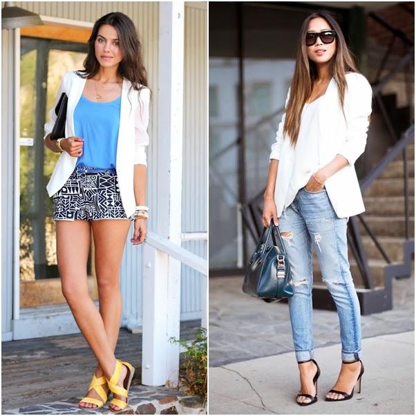 Looks com Blazer Dica Como Usar Branco Moderno Short