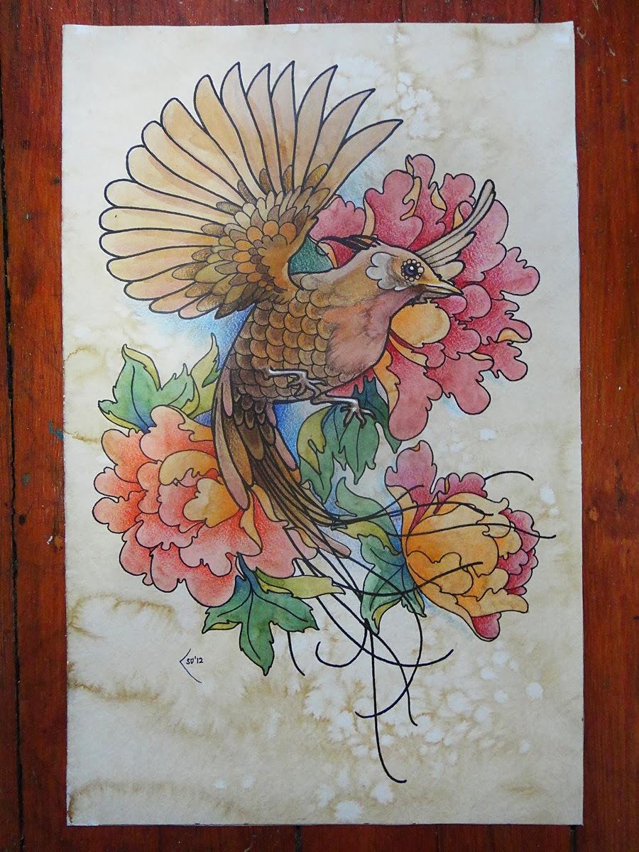 Tattoo Pássaros Flores