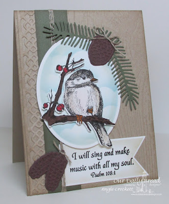ODBD You Will Find Refuge, ODBD Custom Chickadee Die, ODBD Custom Ovals Dies, ODBD Custom Pennants Dies, ODBD Custom Pine Cones Dies, ODBD Custom Lovely Leaves Dies, ODBD Custom Beautiful Borders Dies, ODBD Wood Background, Card Designer Angie Crockett