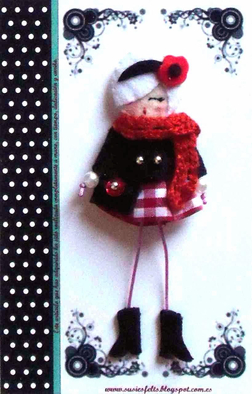 Susies, broches, fieltro, muñecas, bufandas,  handmade