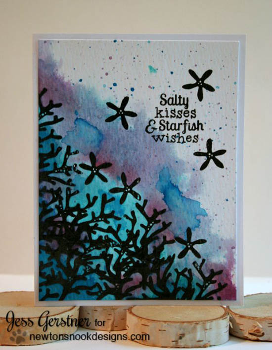 Starfish Watercolor card by Jess Gerstner | Tranquil Tides Stamp Set by Newton's Nook Designs #sea #ocean #stamp