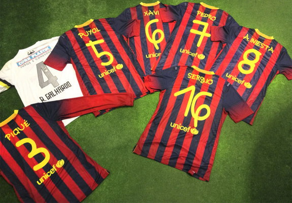 These are the shirts worn by Barcelona players against Santos that have been put up for auction