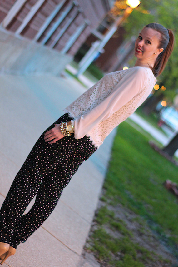 Lace with Sheer Sleeves, Polka Dot Pants | StyleSidebar