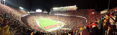 The view inside Ohio Stadium from the upper deck.