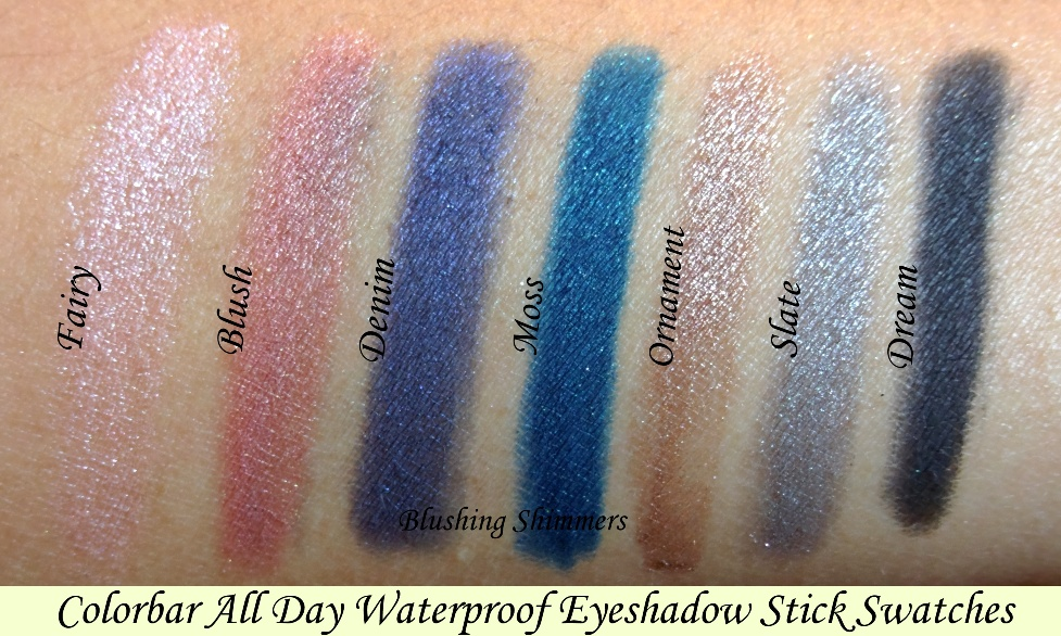 Blushing Shimmers Colorbar All Day Waterproof Eyeshadow Stick Swatches