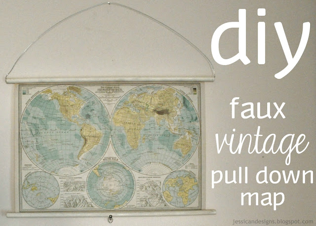 DIY Faux Vintage Pull Down Map by JessicaNDesigns