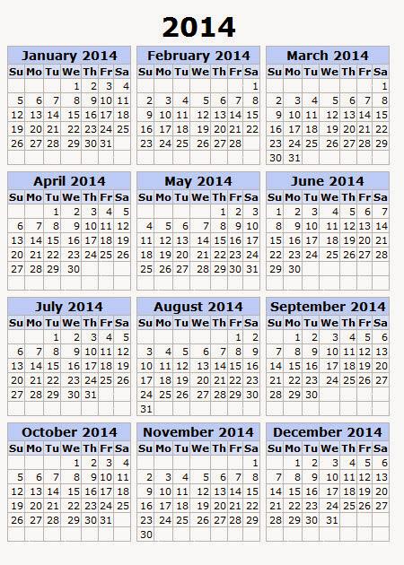 Printable Calendar 2014, Blank Calendar 2014, Download Calendar 2014 ...
