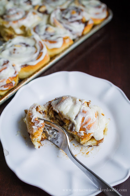 The most delicious and easy Cinnamon Roll recipe!  Just the right amount of cinnamon, sugar and frosting!     mynameissnickerdoodle.com
