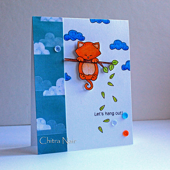 Hanging cat card by Chitra Nair for Newton's Nook Designs | Hanging Around Stamp Set