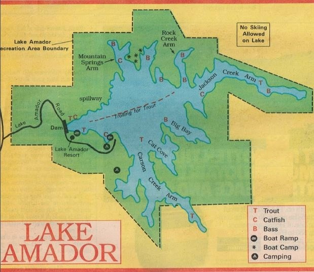 2018 lake amador fish map and fishing report and amador for Lake amador fishing