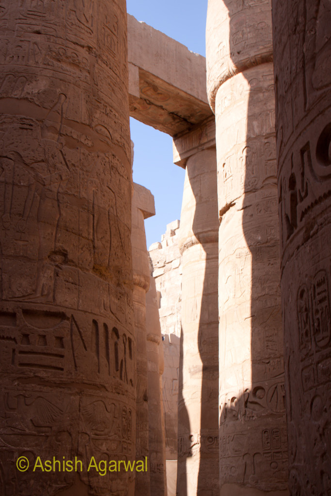 Small gap between the pillars of the Hypostyle Hall inside the Karnak temple