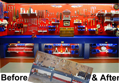 metal pegboard toolboard before and after photo