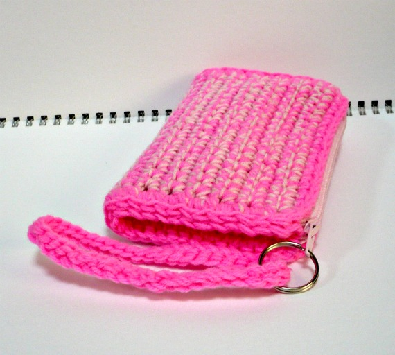 Nicely Created For You Crochet Bright And Pale Pink Wristlet With