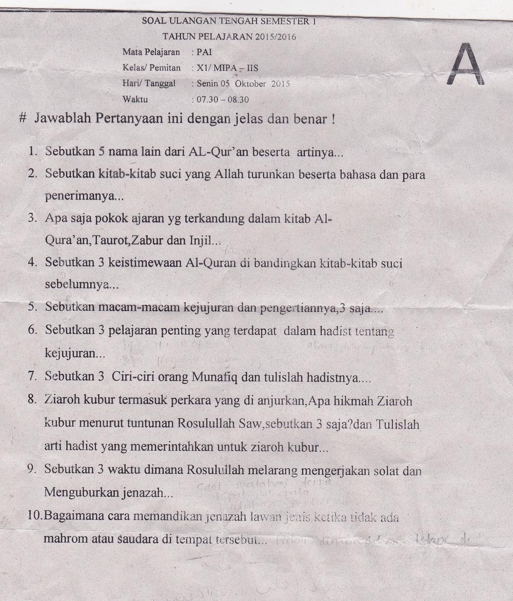 Contoh Soal Tengah Semester 1 Kelas Xi Agama Islam Rumus