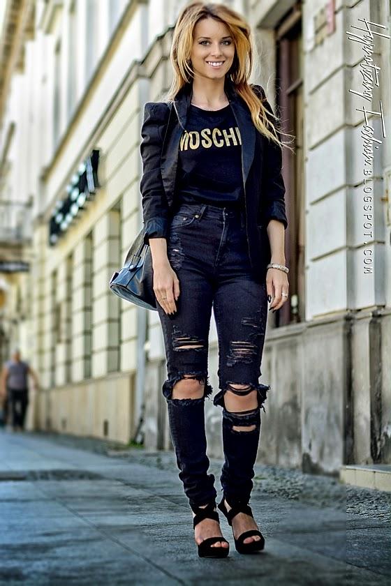 hypnotizing fashion poszarpane jeansy