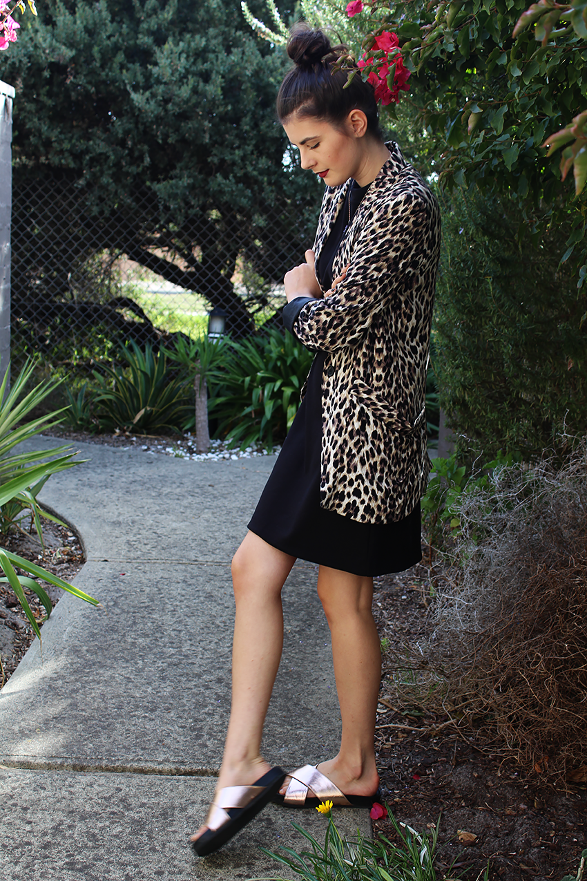 culture in australia, leopard blazer, how to wear leopard print, how to wear animal print, how to wear dark lipstick, metallic slides, ivana, ivana petrovic, likeaharte, like a harte, australian fashion bloggers, melbourne fashion bloggers,