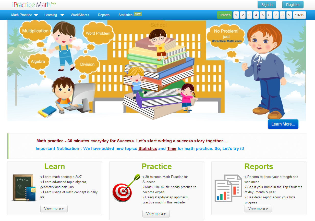 learning never stops great math websites for students of any age the site even allows teachers to generate reports to help monitor student progress the site is categorized by topic and grade level for easy navigation