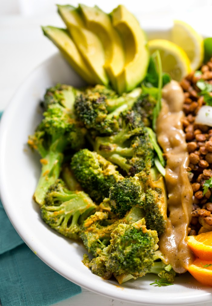 Savory Miso Broccoli + Spiced Lentil Power Plate! Vegan Fast Food.