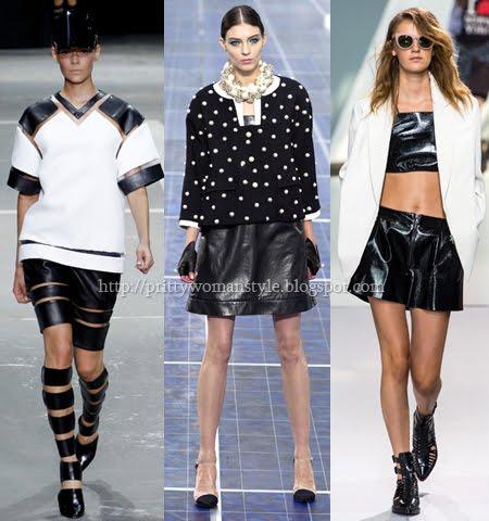 Кожени дрехи в черно и бяло, модерни за пролет-лято 2013