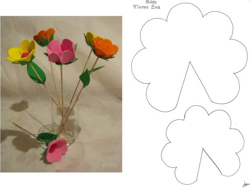 Moldes de flores de E.V.A para decoração de aniversários de meninas