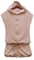 Pink Cap Loose Woolen Shorts Jumpsuit