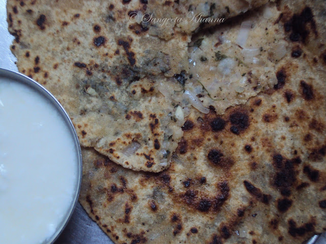 onion stuffed paratha ..... made healthier...