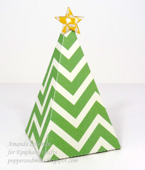 this 3d christmas tree box was easy to die cut and assemble the box opens up at the bottom so the star will stay in place - Christmas Tree Boxes