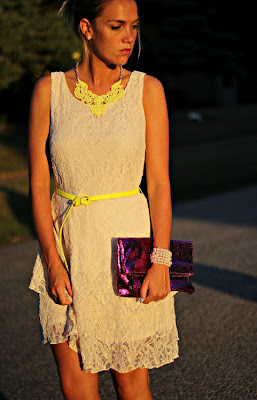 Missy from Pop of style wearing a Neon Yellow Lace Necklace
