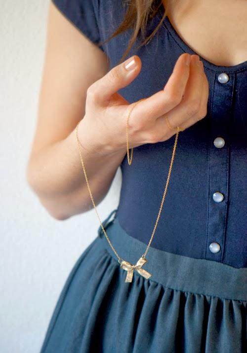 ribbon bow necklace diy