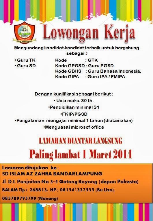 Lowongan Kerja Tenaga Pendidik di SD dan TK Islam Az Zahra Bandar Lampung