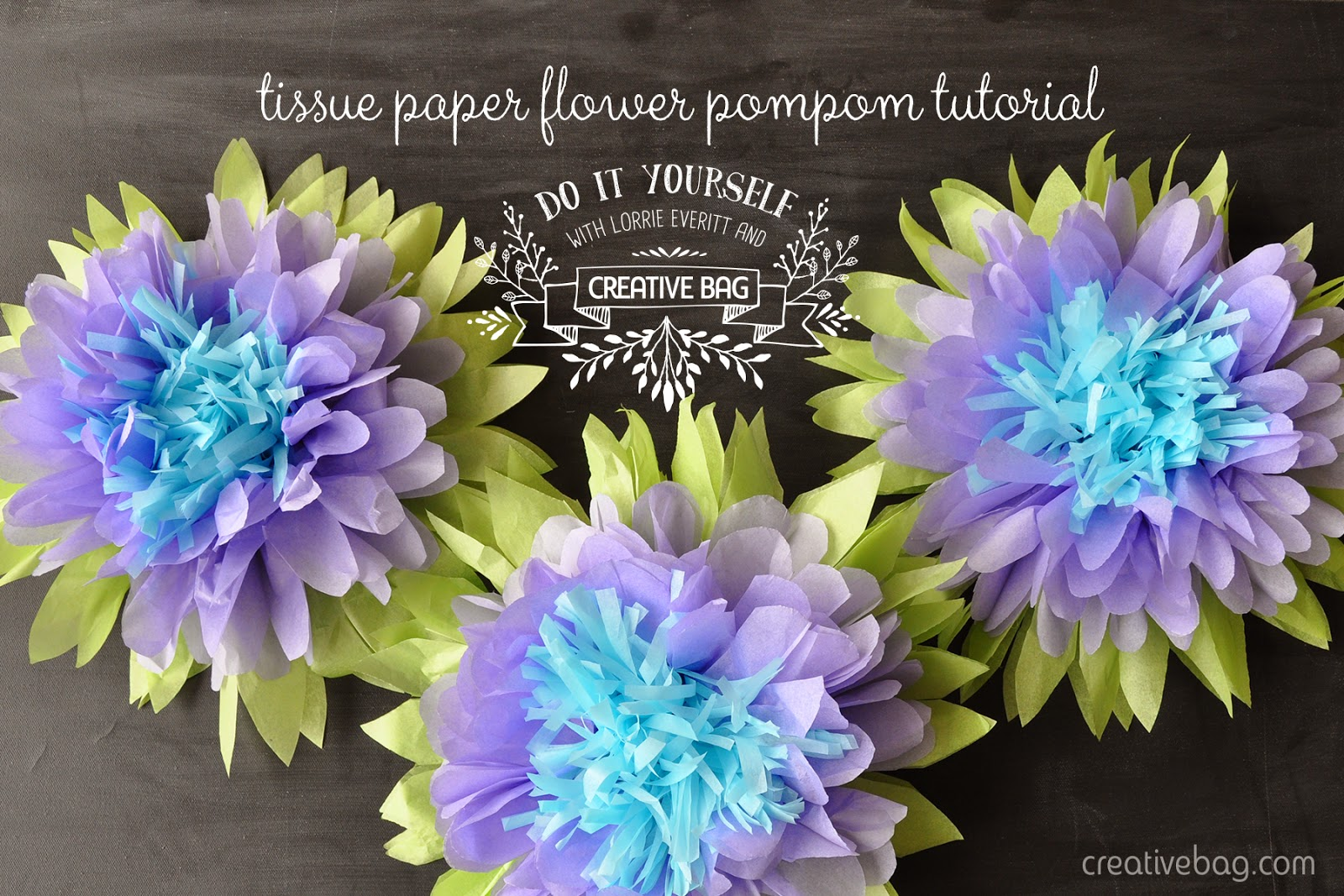 tissue paper flower pompom tutorial | Lorrie Everitt for Creative Bag
