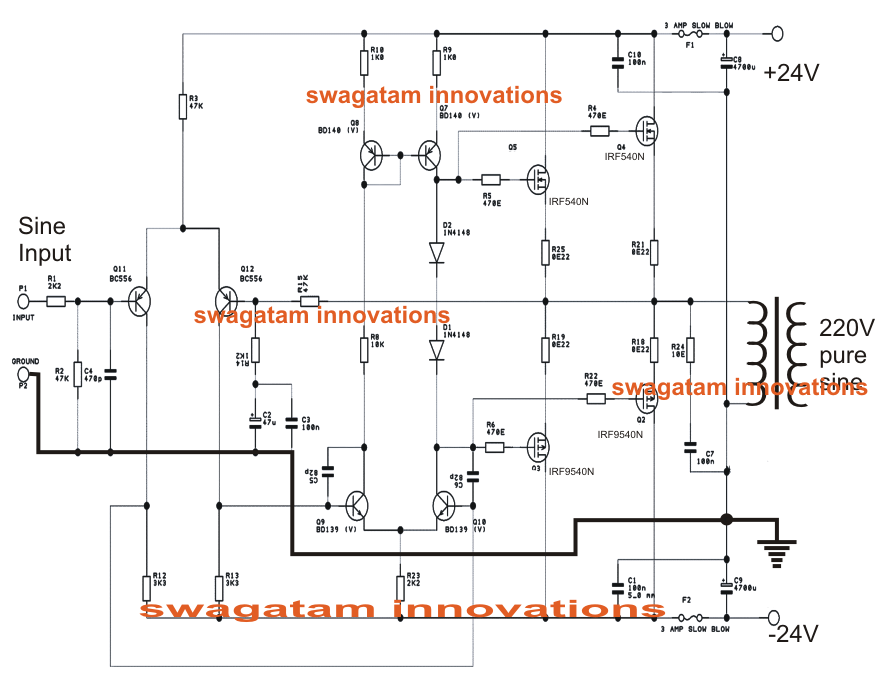 simple pure sine wave inverter circuit - 500 watt pure sine, Circuit diagram