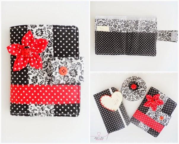 Carteira de tecido, estampas preto poá e branco floral com detalhes em vermelho e joaninha.