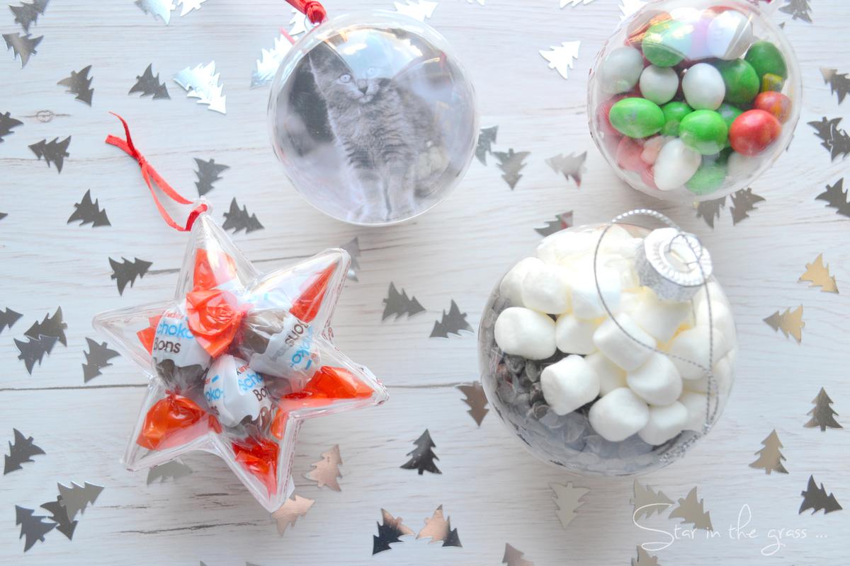 3 diy boules de Noël chocolats, préparation chocolat chaud et photo personnalisée