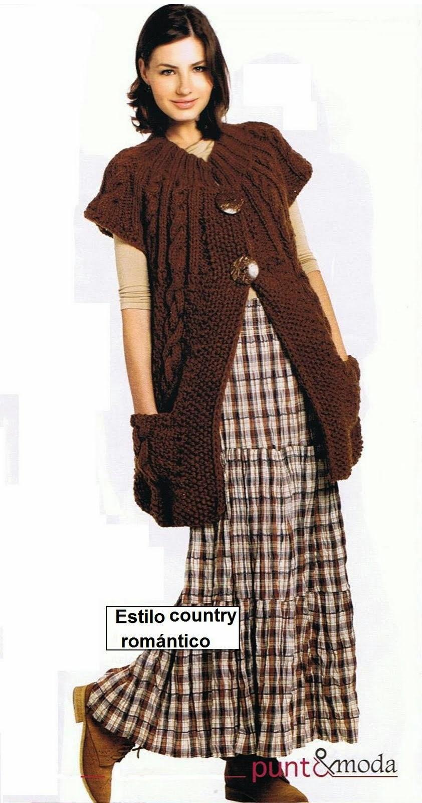 Hermoso Chaleco largo con tejido con dos agujas