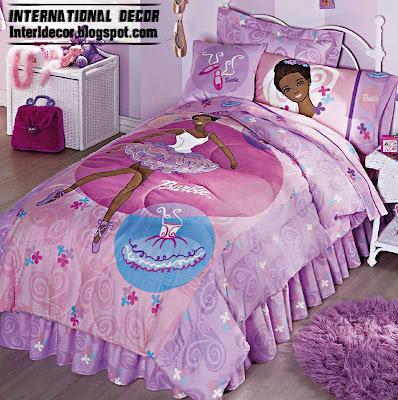 Barbie girls bedroom with Barbie girls bedding purple