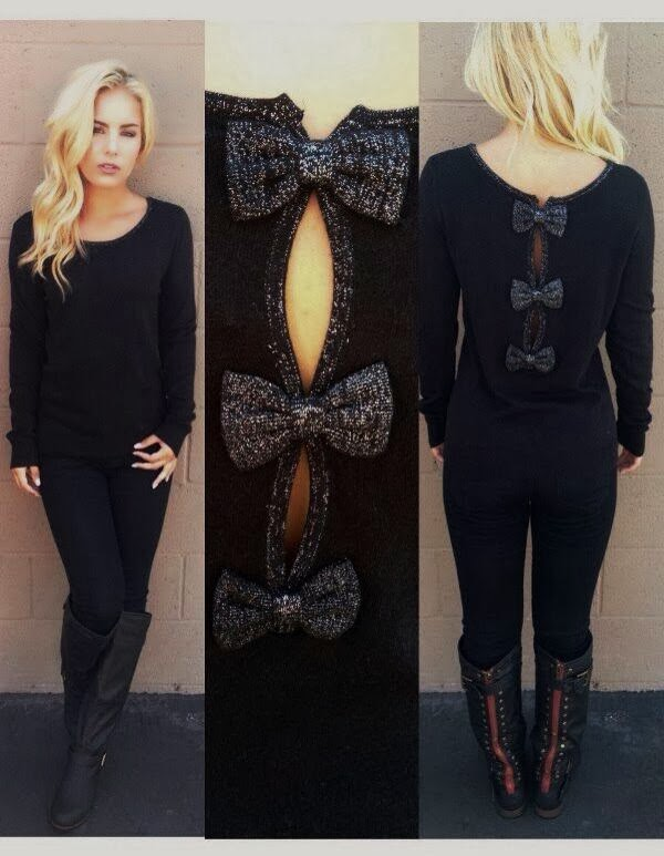 Gorgeous Black Bow Back Sweater, Jeans with Skinny and Long Boots