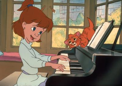 Jenny and Oliver Oliver & Company 1988 animatedfilmreviews.blogspot.com