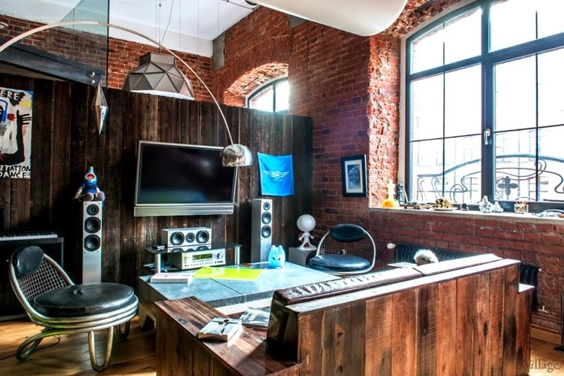 Industrial Interior Design Ideas rustic industrial interior design Living Room In Industrial Interior Design Duplex Apartment In Moscow
