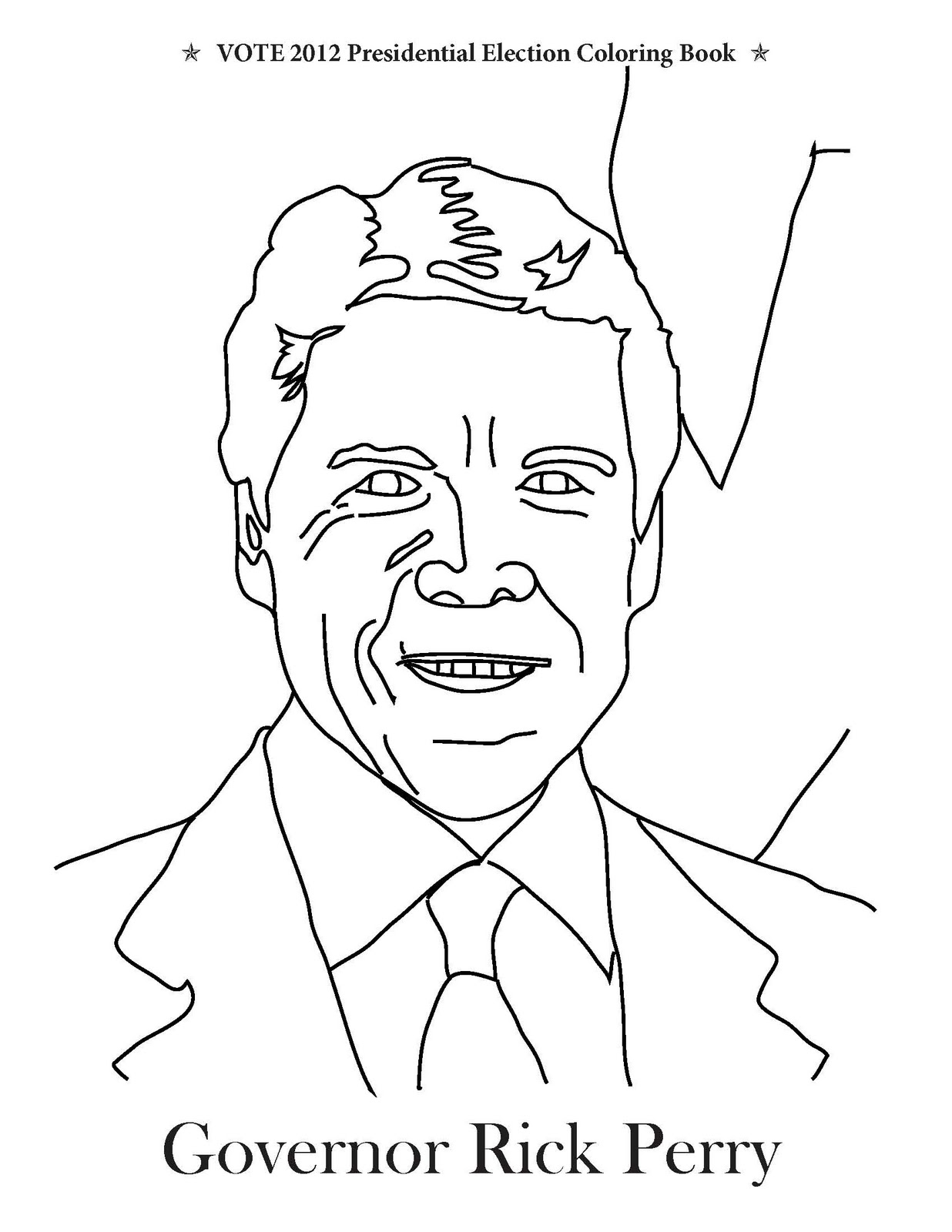 governor rick perry coloring page from vote 2012 presidential election coloring book
