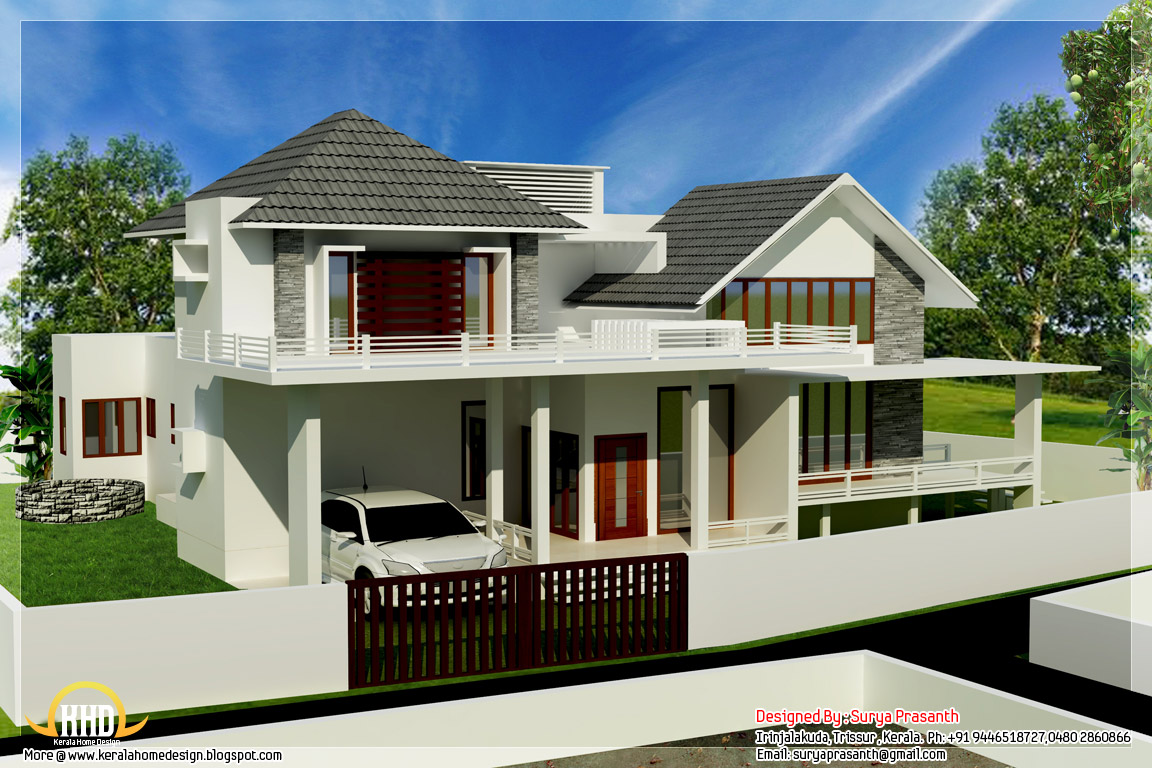 New contemporary mix modern home designs kerala home for Beautiful modern home designs