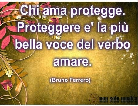 Aforismi - Bruno Ferrero. Chi ama protegge. Proteggere  è la piu' bella voce del verbo amare.