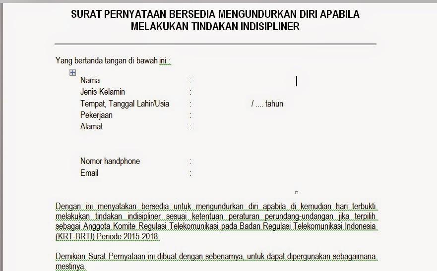 Surat Pernyataan Bersedia Mengundurkan Diri Pengadaan