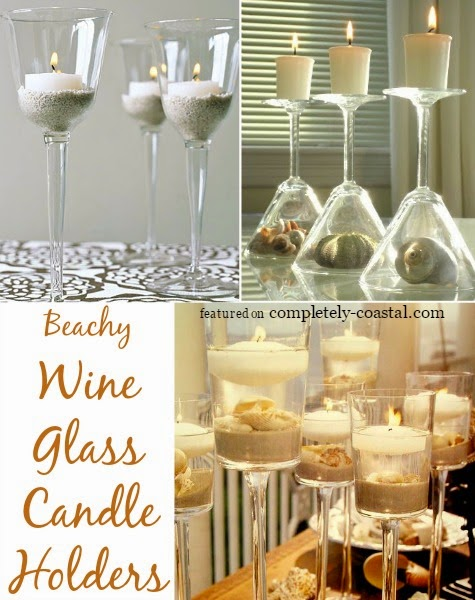 Top coastal candle centerpieces for a warm festive table for Beach wine glass candle holders