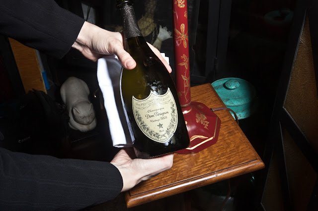 Bouley private dining room Dom Perignon bottle