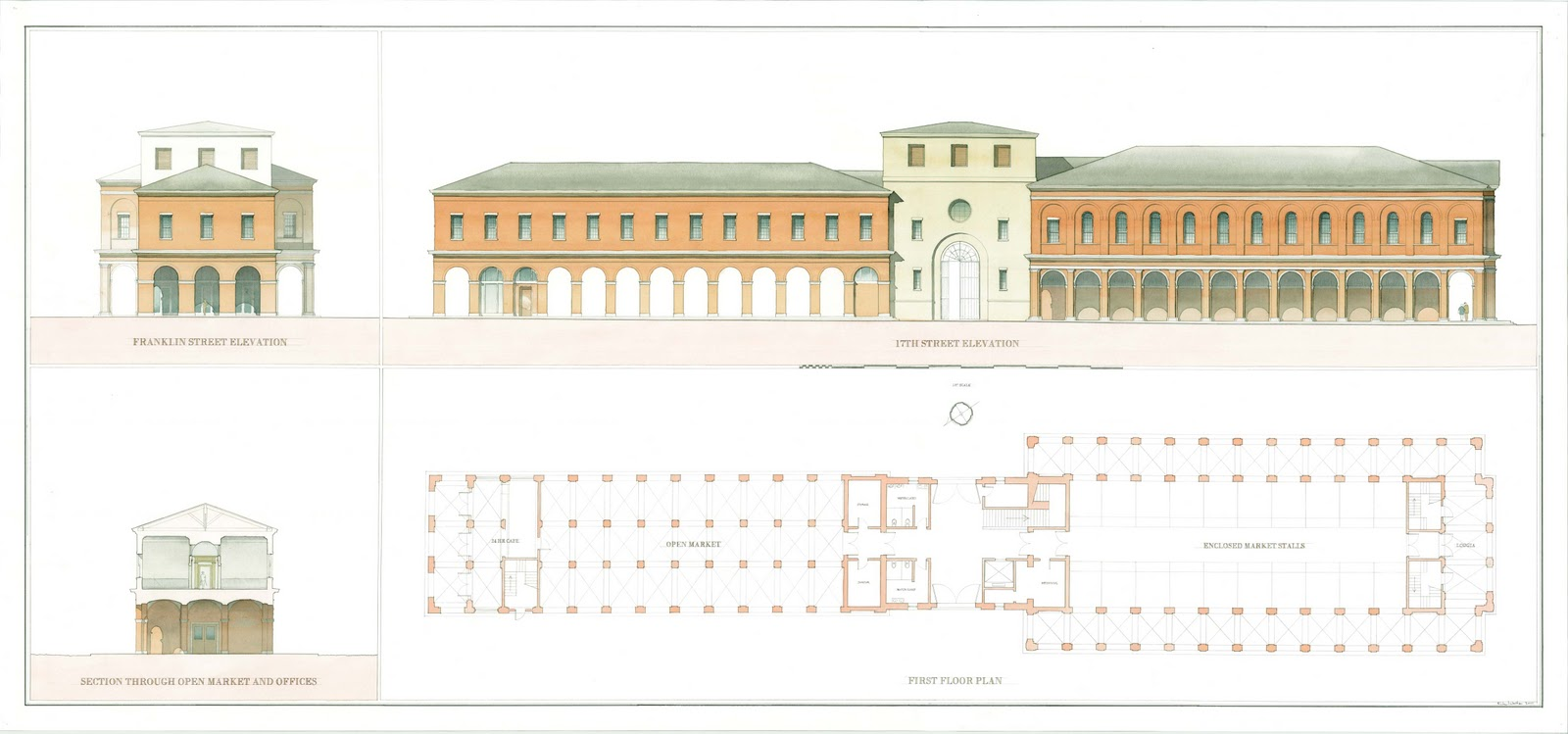 Ground floor plan and elevation of the proposed market the main street facade is toward the right
