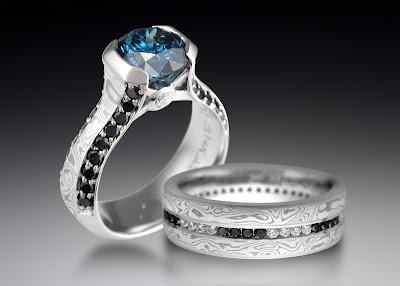 Mokume Wedding Rings on Unique Black Diamond Engagement   Wedding Rings
