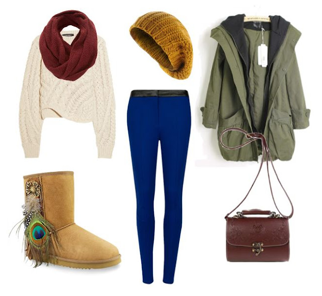 Peacock outfit AUKOALA Ugg Boots INTERNATIONAL LIMITED, peacock feather tan ugg boots, chunky cable knit sweater, wine infinity scarf, blue pants, yellow beanie, green anorak, brown bag, winder style