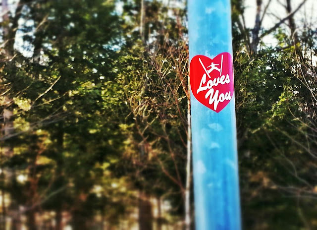 Ski heart sticker at Attitash
